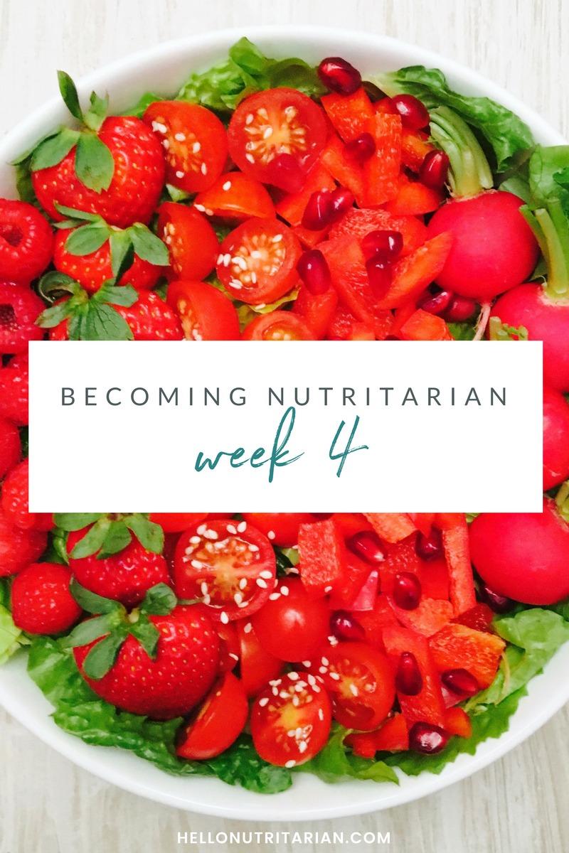 Week 4 Becoming nutritarian weight loss journal Dr Furhman Eat to Live 6 week plan Dr Greger How not to Die Diet no oil no added salt reverse diabetes