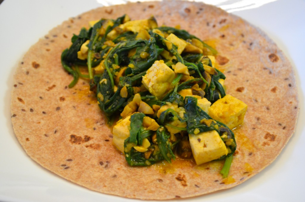Tofu, mushroom and kale wrap--what to eat on day 1 on the Eat to Live plan // MyMommaToldMe.com