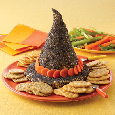 Savory Halloween Recipies - Cheesey Witch Hat Dip Platter // MyMommaToldMe.com