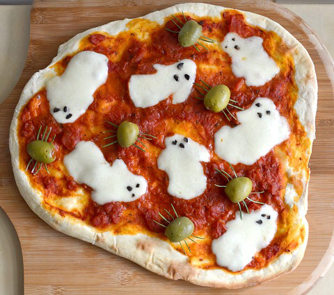 Savory Halloween Recipes - Ghost Pizza // MyMommaToldMe.com