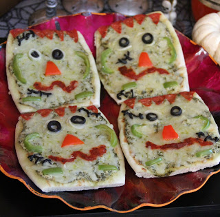 Savory Halloween Recipes - Franken Pizzas // MyMommaToldMe.com