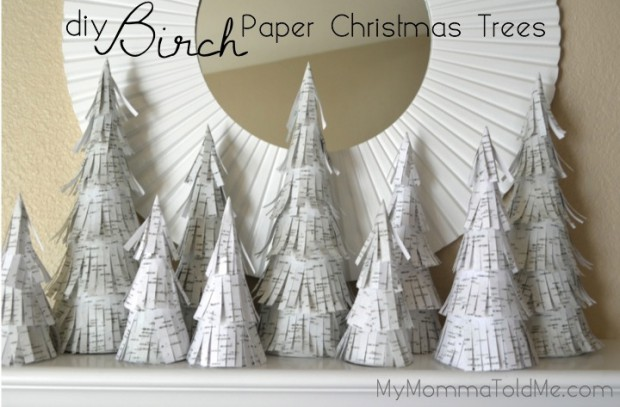 Paper Birch Trees Christmas Mantel Decorations