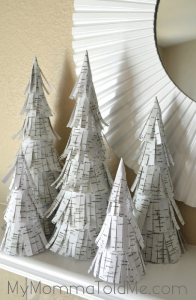 DIY Birch paper Christmas Trees