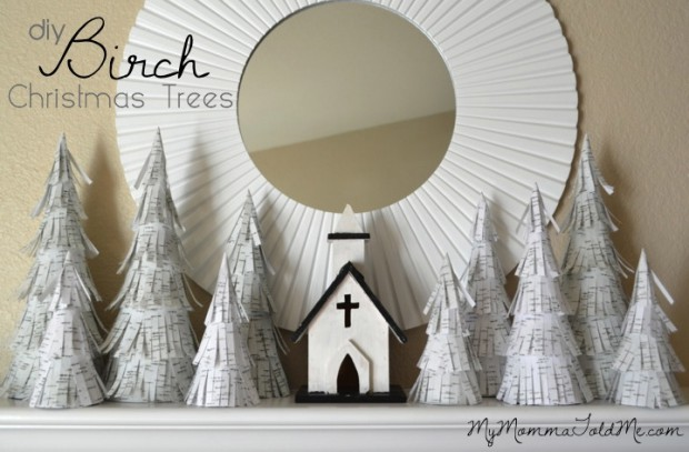 DIY Paper Birch Christmas Trees Tutorial using paper mache cones