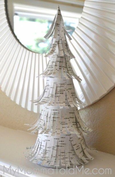 DIY paper birch tree Christmas project feathered look