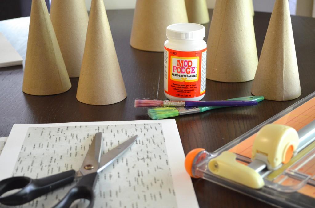 DIY Paper Mach Birch Trees Materials Needed