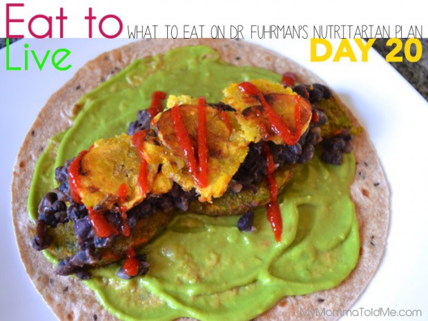 Day 20 What to eat on Dr Furhman eat to live nutritarian plan