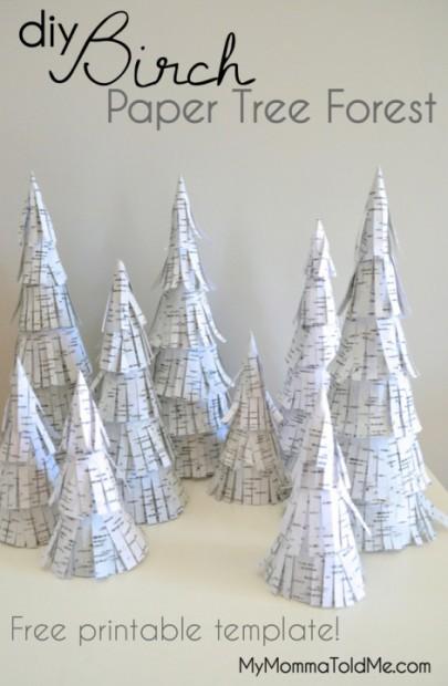 DIY Christmas Decorations: Free Printable Template Birch Trees