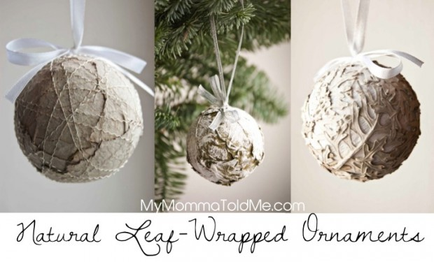 natural christmas decorations leaf wrapped ball ornaments