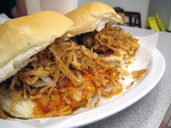 El Rey de las Fritas frita sandwich from calle ocho little havana miami
