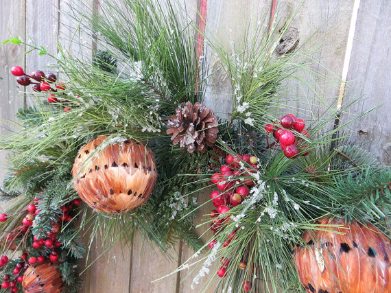 natural christmas garland mantle with feather balls