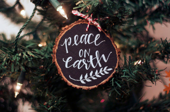 tree ring chalkboard christmas ornament natural decor
