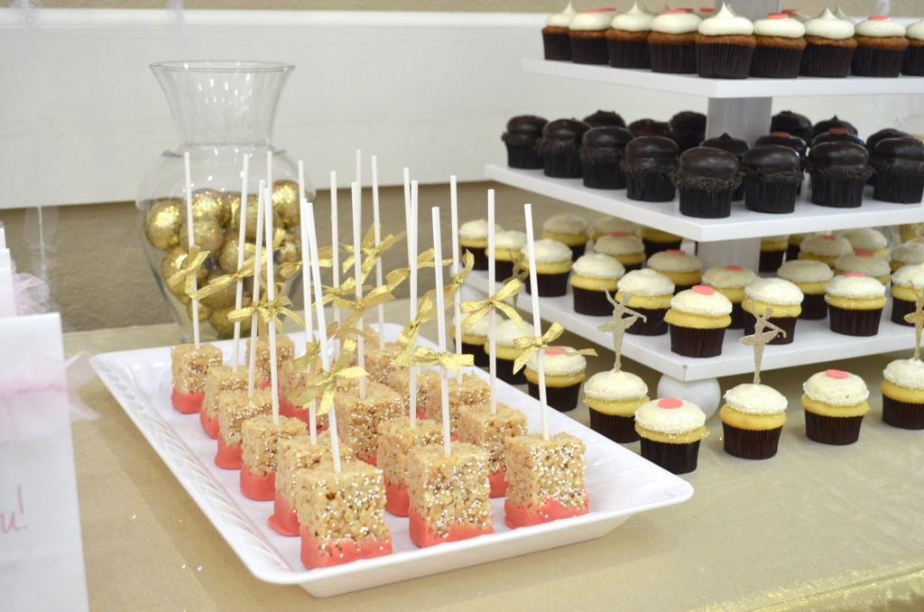 Baby Shower Dessert Table Idea Rice Crispy Treat Pops // MyMommaToldMe.com