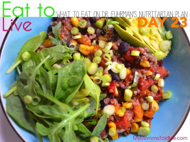 Day 23 What to eat on Dr Furhman eat to live nutritarian plan