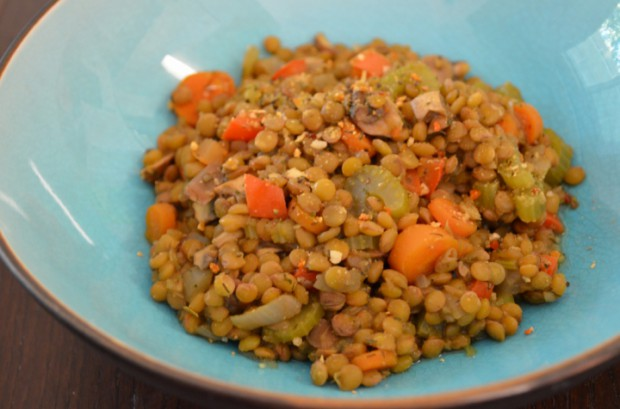 Dinner lentil stew what to eat on day 23 of Dr Fuhrman Eat to Live plan MyMommaToldMe.com