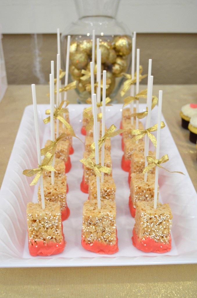 Pink and Gold Baby Shower Rice Crispy Treat Pops // MyMommaToldMe.com