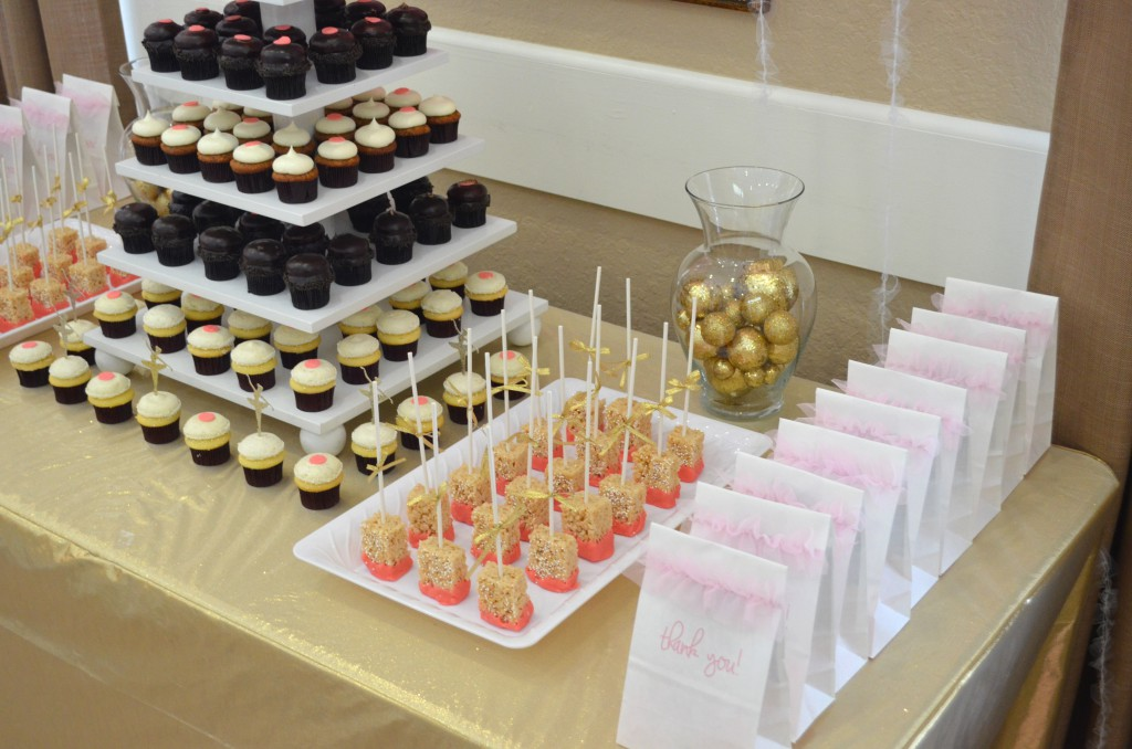 Pink and Gold Ballerina Baby Shower Dessert Table // MyMommaToldMe.com