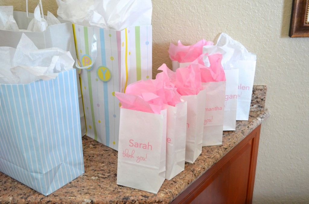 Gift bags for baby shower diabetesmangfo pink tulle ribbon goodie bags hello nutritarian baby shower negle Gallery