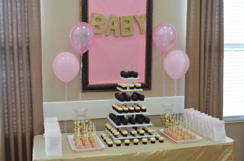 Diy pink gold baby shower decorations hello nutritarian for Baby shower decoration ideas homemade