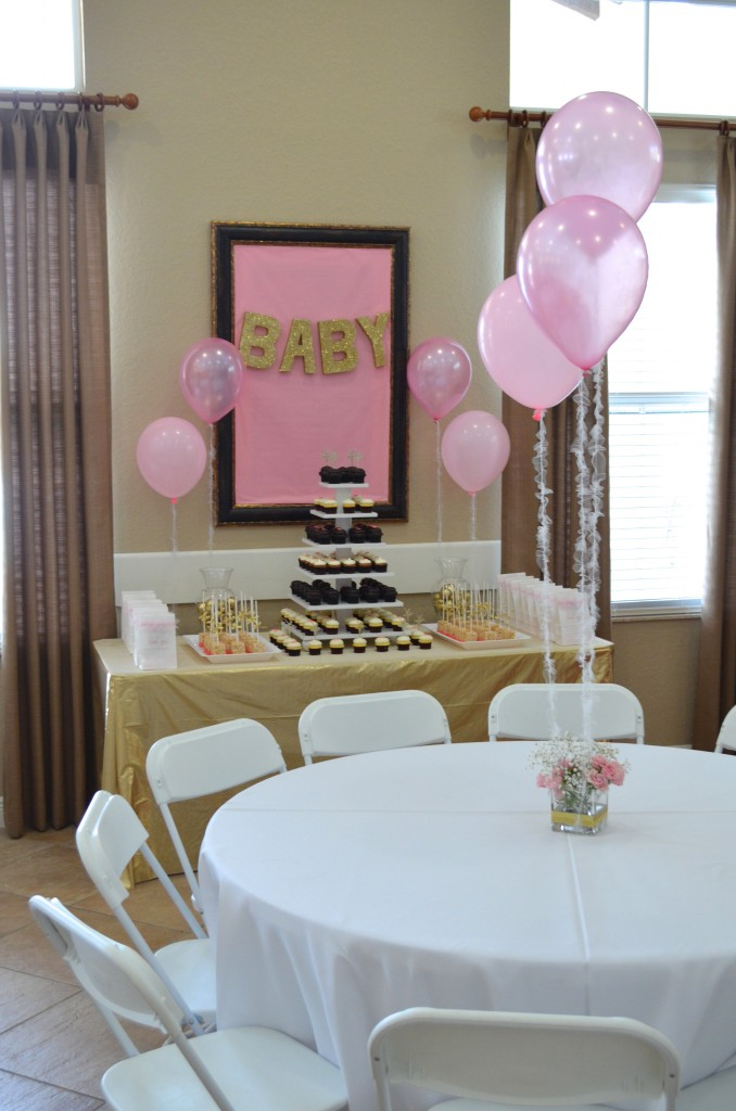 Diy pink gold baby shower decorations hello nutritarian for Baby shower decoration store