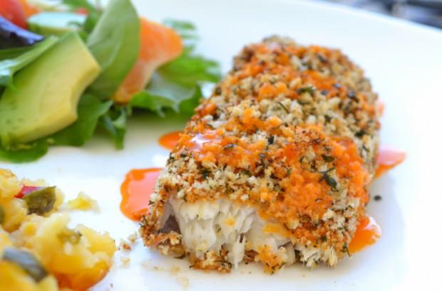 Crunchy Baked Tilapia Recipe Buffalo Ranch no oil :: MyMommaToldMe.com