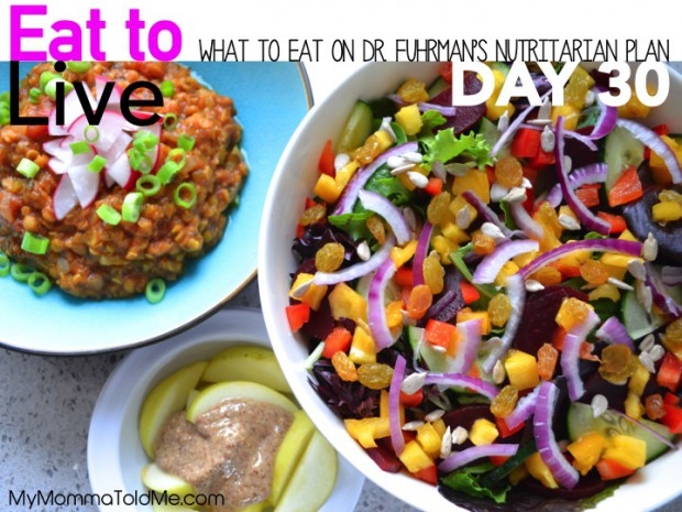 Day 30 What to eat on the 6 week Dr Fuhrman Eat to Live plan how to become a nutritarian menu plans