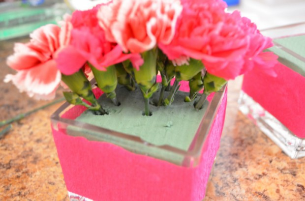 Crepe paper flower vase centerpiece idea hello nutritarian arranging the flowers with the wet floral foam how to make a simple baby shower or mightylinksfo
