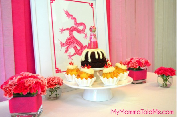 crepe paper centerpieces for dol janchi first birthday dessert table year of the dragon dol party MyMommaToldMe.com
