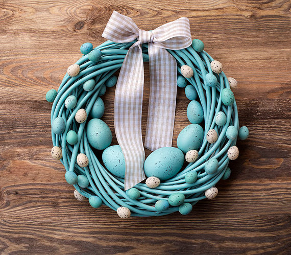Etsy Easter Finds Turquoise Easter wreath with eggs BotanikaStudio