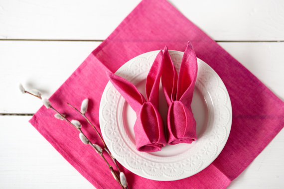 Neon Pink Linen Bunny Napkins Easter Table Setting Idea