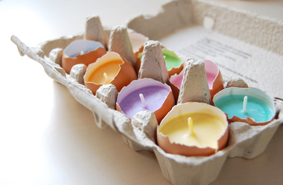 real eggshell candles for easter by LessCandles