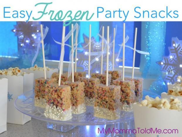 Easy Frozen Party Foods Sancks Frozen theme birthday party Frozen Rice Krispie Treats