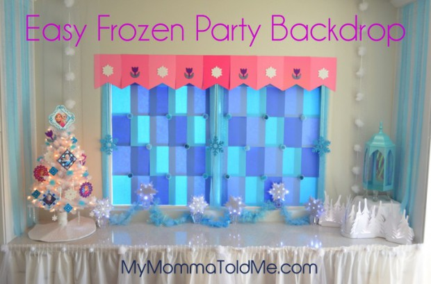 Easy Frozen party Backdrop using cardstock paper and tape
