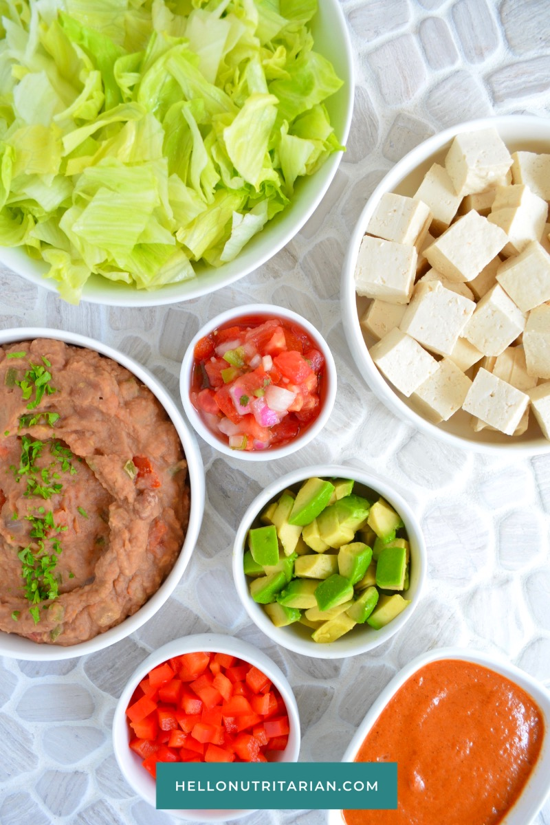 Eat to Live Mexican Salad by Hello Nutritarian Ingredients High Protein Dr Fuhrman Diet LEttuce Avocado Refreid Beans Tofu Hot Sauce Pico De Gallo Vegan Prep Ahead Meal