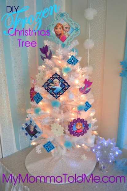 Beautiful white Disney Frozen christmas Tree with DIY Ornaments