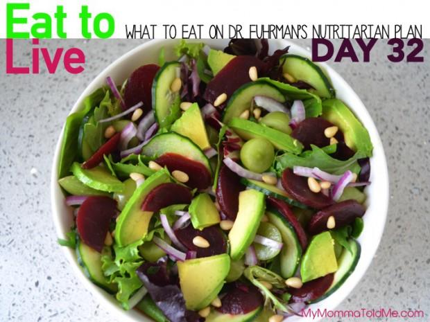 Day 32 Eat to Live Dr Fuhrman 6 week plan Nutritarian Diet Plan