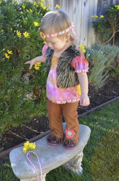 Hippie toddler girl halloween costume idea semi handmade MyMommaToldMe.com