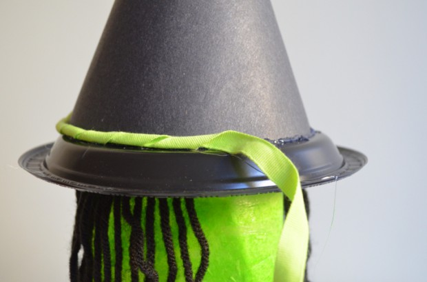 Milk jug Witch Halloween decoration tutorial hat trimming MyMommaToldMe.com