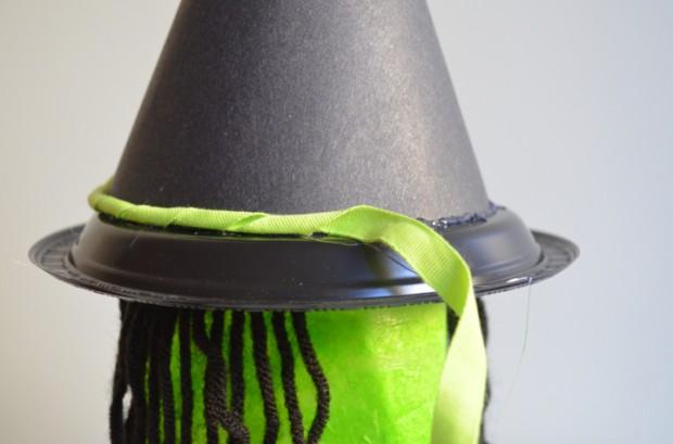 Milk jug Witch Halloween decoration tutorial hat trimming MyMommaToldMe.com