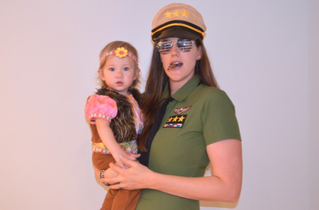 Mother and child Halloween couples costume hippie and general MyMommaToldMe.com Halloween costume ideas