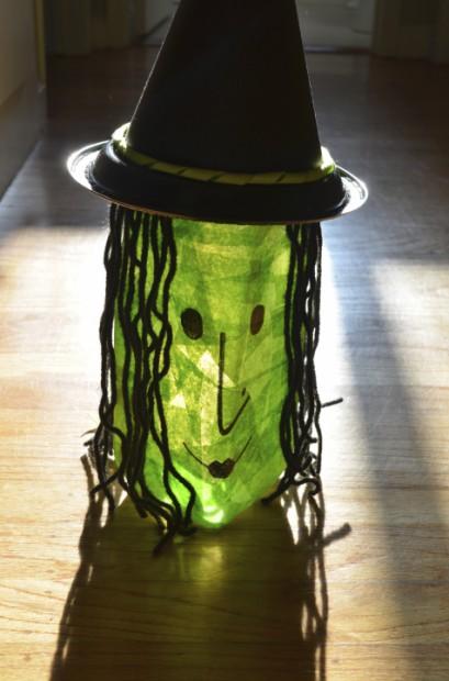 diy halloween decoration milk jug witch lantern craft by MyMommaToldMe.com