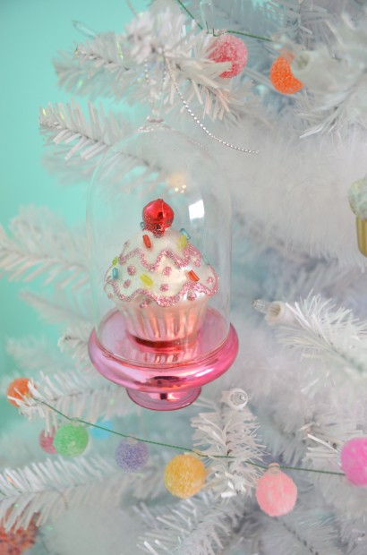 Cupcake in a cloche glass Christmas ornament MyMommaToldMe.com