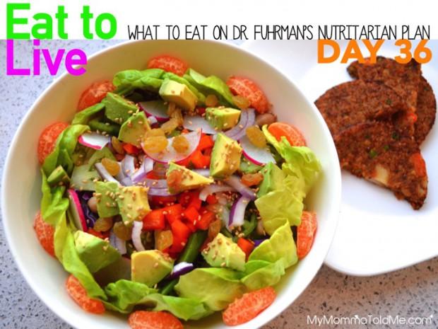 Day 36 What to eat on Dr Fuhrman Eat to Live 6 week Nutritarian plan menu plan ideas