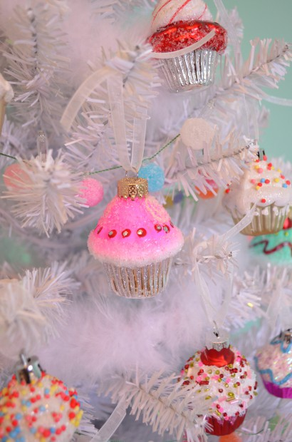 Pink and silver glass cupcake Christmas ornament MyMommaToldMe.com