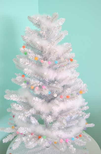 White Artificial Christmas Tree with garlands MyMommaToldMe.com