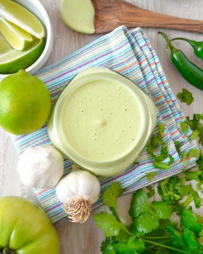 Cilantro Cashew Cream Sauce Vegan Oil Free Low Sodium Salad Dressing Recipe Dr Fuhrman 6 Week Plan Nutritarian Eat to Live Fast Food Genocide What the Health Vitamix Recipe