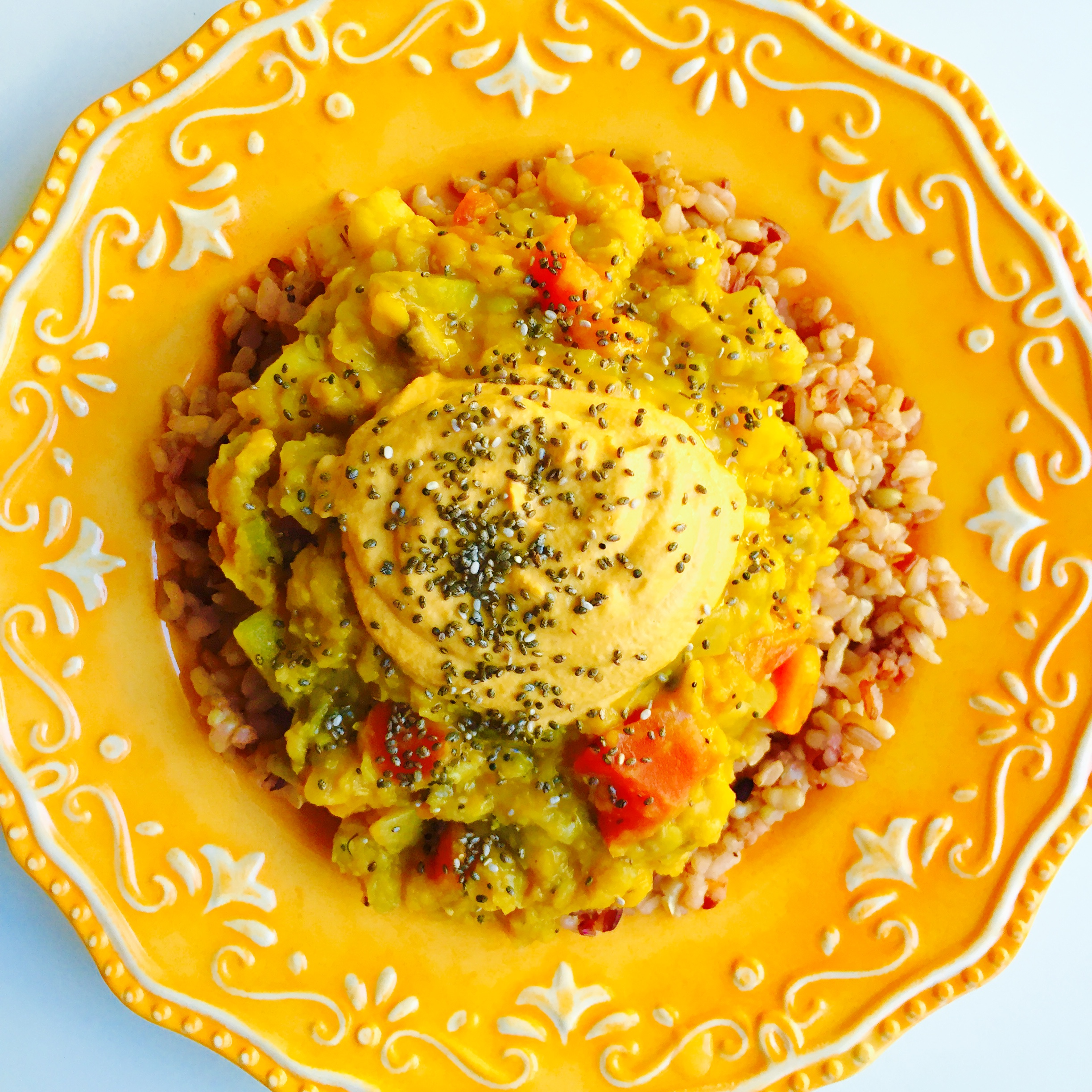 Nutritarian Dr Fuhrman Eat to Live Lentil Brown Rice and cheese bowl MyMommaToldMe.com