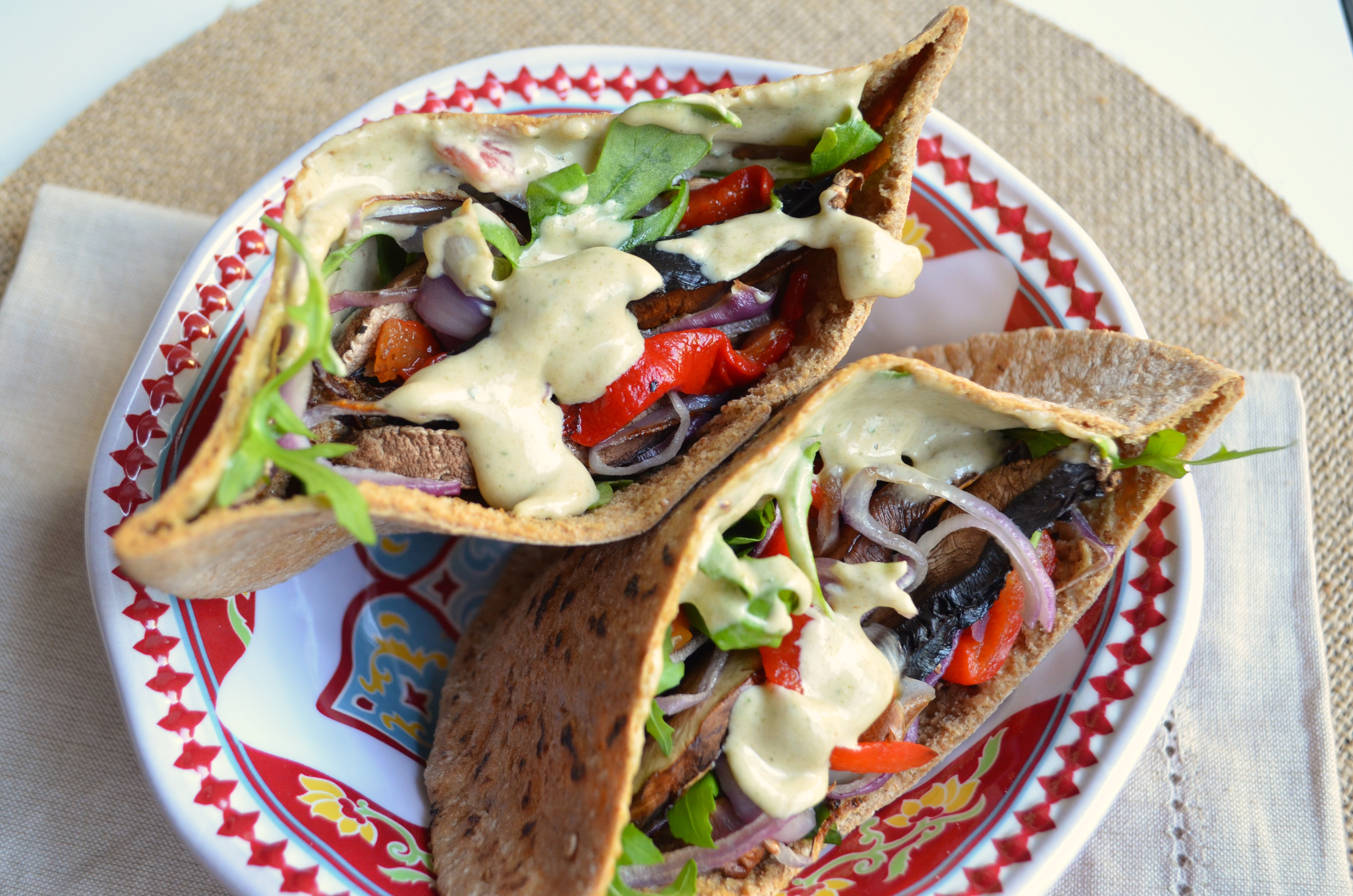 Portobello Red Pepper Pitas with extra Tahini Date Sauce by MyMommaToldMe.com