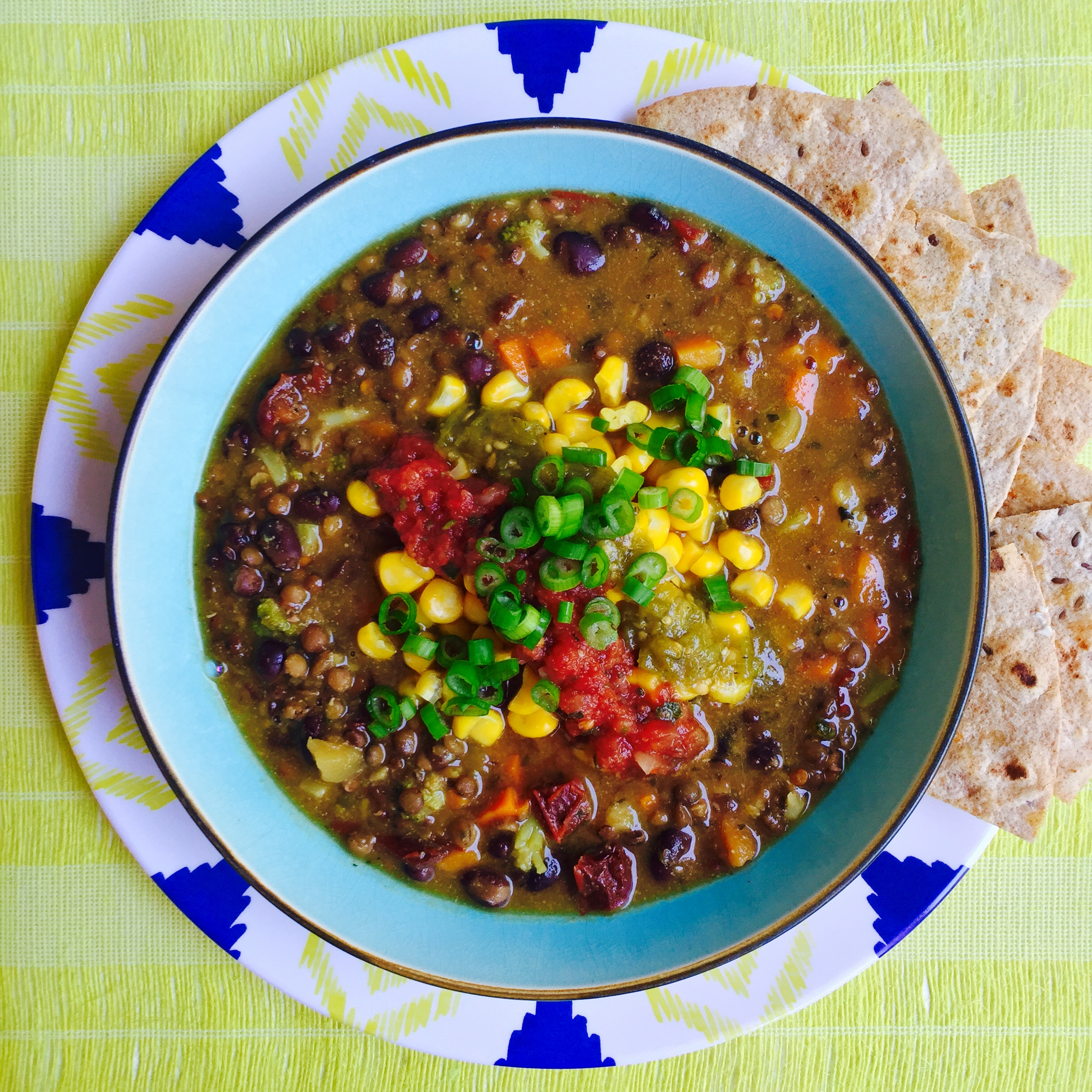 Chipotle Lentil and Black Bean Soup recipe Eat to Live Program Dr Fuhrman by MyMommaToldMe.com