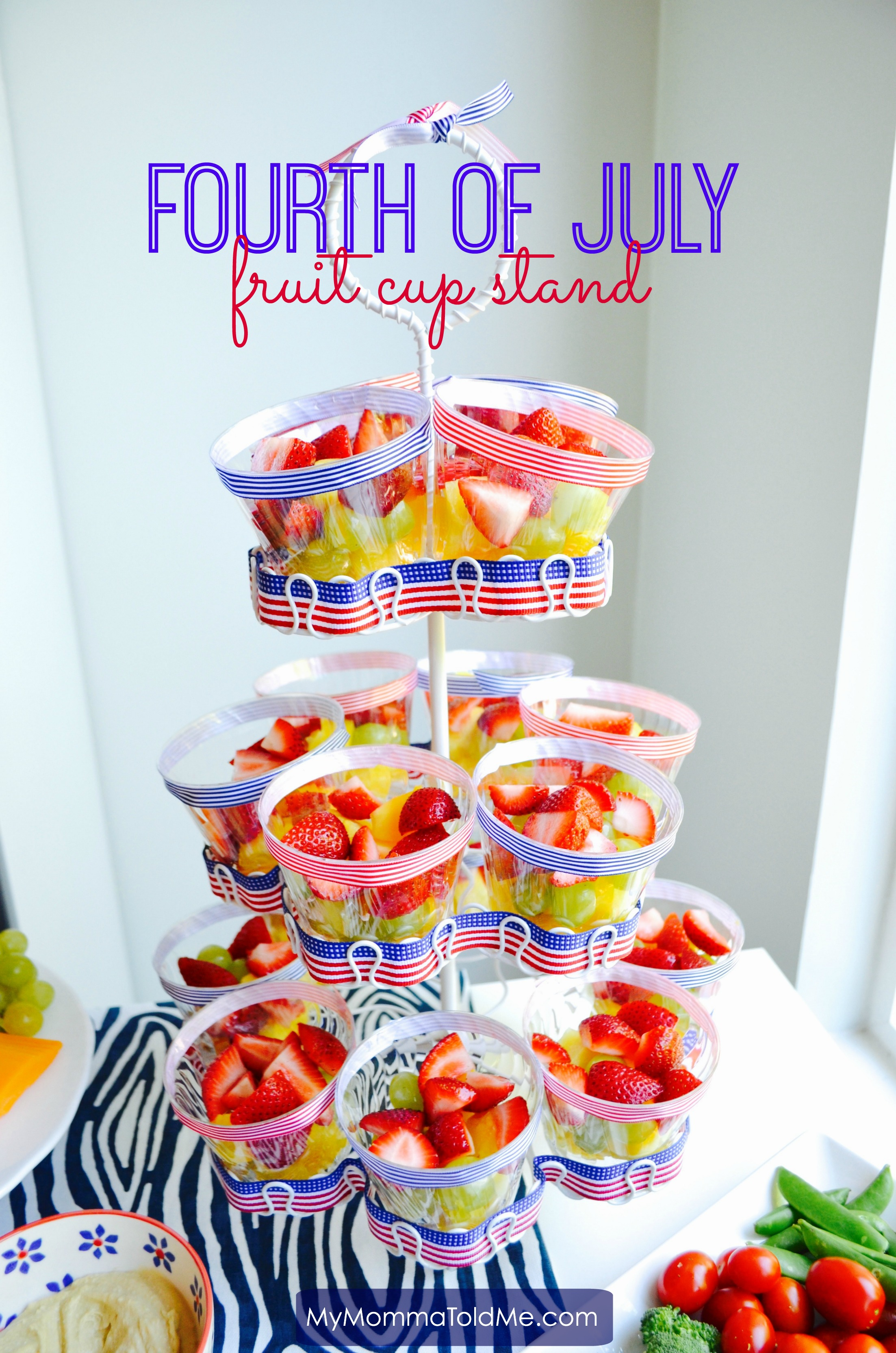 Fourth of July fruit Cup Stand Nutritarian Eat to Live Program MyMommaToldMe.com